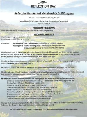 Reflection Bay Membership Annual Membership Flyer